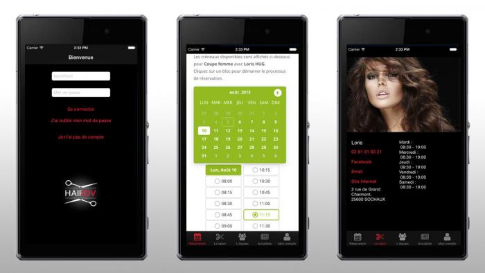 Réservation sur mobile – HairDV